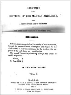 Services of the Officers of the Corps of Madras Artillery