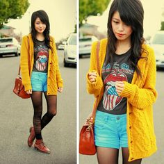 Graphic T-Shirt , Bright Jean Shorts , Tights & Colored Knit Cardigan