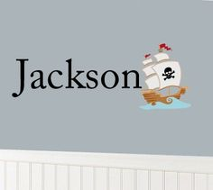 """Kids initial monogram name with pirate ship boat boys vinyl wall decal. 27.00, via Etsy.  25""""x11"""""""