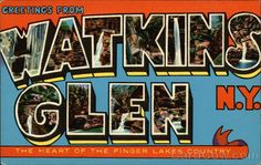 Watkins Glen is located at the southern end of Seneca Lake in the Finger Lakes Region of Central New York. It is internationally known for its Grand Prix race track and also for its Glen State Park which was founded in 1863
