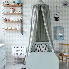'Wake up and be awesome', what a beautiful kid's room by @sullkullan Lightbox and String Pocket shelf available online. . Hope you're all having a great Sunday! . #kidsroom #kidsroomdecor #nordichome #nordicinspiration