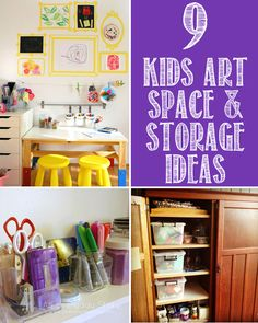 9 Kids Art Space and Storage Ideas 9 great kids art spaces - including both indoor and outdoor spaces - and some fabulous storage solutions for art and creative play supplies. Kids Art Space, Art For Kids, Kid Art, Kids Storage, Storage Spaces, Storage Ideas, Kids Art Corner, Art Studio Storage, Artist Storage