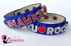 Create your SPARKLE!  #ku #rockchalk #jhawks #footballfans #bling #girlssparkle #ilovesports #affordable   #createyourownsparkle #sportsmoms #showyourspirit #college #football #charms #slidingcharmbracelets