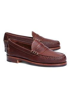 Penny loafers, made from football leather. BB#1 detail at rubber sole. Leather lined. Made in the USA.