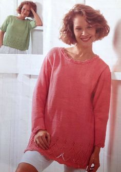 5a5e27a5fae479 Items similar to Knitting Pattern Ladies Woman s Aran  Fisherman  10 ply  Jumper Sweaters With Lace Trim Short Long Sleeved in 2 styles size 32-42in  81-107cm ...
