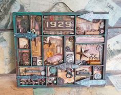 starrgazer creates: American Vintage Assemblage - letter box tray - 7gypsies trays Mixed Media Boxes, Mixed Media Art, Mix Media, Printers Drawer, Shadow Box Art, Altered Boxes, Altered Art, Block Lettering, Assemblage Art