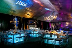 Name in lights. Rent similar lighting and monogram lights in Chicago & suburbs at www.SatinChairCovers.com