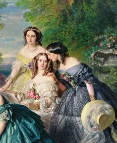 antique-royals: Franz Xaver Winterhalter -The Empress Eugénie Surrounded Her Ladies in Waiting (details), 1855