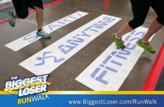 For the Biggest Loser Run/Walk event, they printed on Asphalt Art to create a non-slip, durable finish line