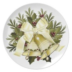 Cream Beige Christmas Bells Holiday Dinner Plate
