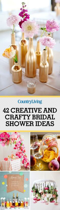 Entertaining & parties - 42 creative and crafty bridal shower ideas, could also be used for a girl baby shower too! Bridal Shower Party, Bridal Shower Decorations, Wedding Showers, Shower Centerpieces, Wedding Centerpieces, Spa Bridal Showers, Bridal Shower Ideas Spring, Country Party Decorations, Bridal Shower Crafts