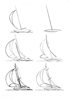 Boats draw a boat how to draw a boat step by step great ways how to draw a speedboat easy Sailboat Drawing, Sailboat Art, Sailboat Painting, Sailboats, Pencil Art Drawings, Art Drawings Sketches, Ship Drawing, Painting & Drawing, Step By Step Drawing