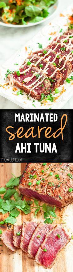 Marinated Seared Ahi Tuna. Amazing flavor, healthy, and perfect for summer.