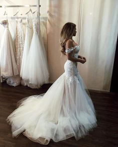 Charming Off Shoulder Mermaid Wedding Dress 2019 Vestido de noiva Lace Tulle Slim Fitted Sexy Backless Bridal Gowns Perfect Wedding Dress, Dream Wedding Dresses, Bridal Dresses, Dresses Dresses, Fitted Wedding Dresses, Bridal Gown Styles, Bridesmaid Dresses, Stunning Wedding Dresses, Event Dresses
