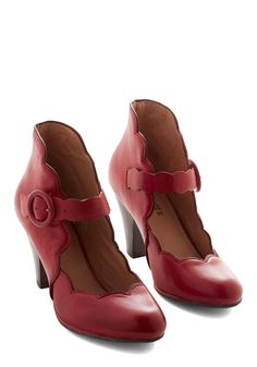 Day Train Heel in Crimson by Miz Mooz - Mid, Leather, Red, Solid, Scallops, Party, Vintage Inspired, 30s, Mary Jane, Variation