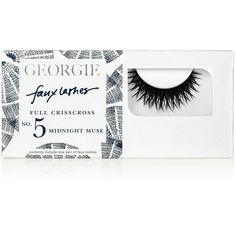 Georgie Beauty Georgie Midnight Muse Faux Lashes ($19) ❤ liked on Polyvore featuring beauty products, makeup, eye makeup, false eyelashes and georgie beauty