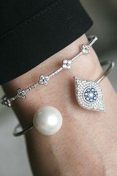 Pearl and Pave Swarovski Evil Eye Evil Eye Cuff Bracelet White Gold from kellinsilver.com