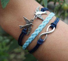 Silver Birds & Infinity Wish Charm Bracelet-Royal Blue Wax Cords Imitation Leather Braided Bracelet-Charm Personalized Friendship Jewelry
