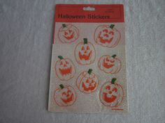 5 Packages Glittery Vintage Halloween Stickers, 1980s Jack o Lanterns by Gibson