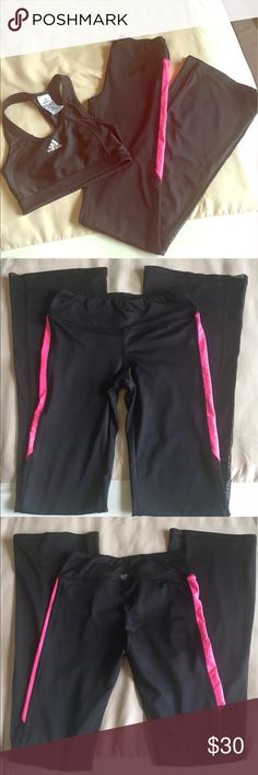 Workout pants These are black stretchy workout pants. They have a pink strip along both legs combined with mesh. Super comfortable and fashionable. Sports bra not included. Pants Track Pants & Joggers