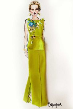 16 Iconic Oscar Dresses Reimagined as Flower Girl Illustrations
