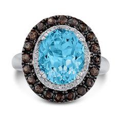 Blue Topaz, Smoky Quartz and Diamond ring