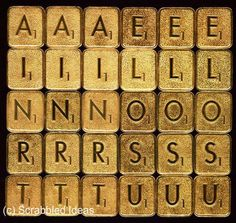Franklin Mint SCRABBLE TILES - Mixed Lot of 20 Common Letters (Gold Plated)