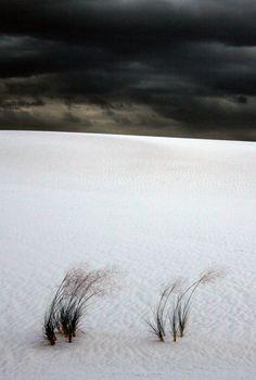 Black cloud white sand desert silence nature