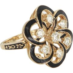 Pre-Owned Diamond Black Enamel Cluster Cocktail Ring Vintage 14k Gold ($1,195) ❤ liked on Polyvore featuring jewelry, rings, yellow gold, 14 karat gold ring, yellow gold rings, gold cocktail rings, diamond cluster ring and 14k diamond ring
