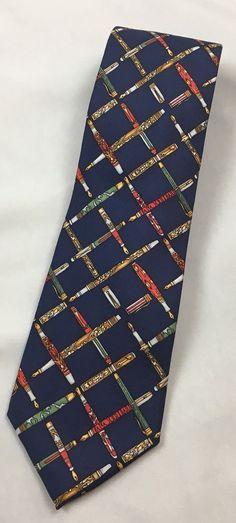 Alynn Neckwear Penmanship Necktie Fountain Pen Calligraphy Navy Blue Made In USA #AlynnNeckwear #Tie