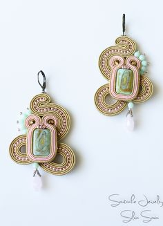 Beige/Pink/Turquoise Handmade Soutache earrings
