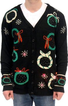 Amazon.com: Ugly Adult Christmas Sweater Wreath Black Cardigan Vest with Flashing Lights: Clothing