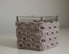 Items similar to Crochet cozy for glass candle holder (including the holder) Color: beige on Etsy Crochet Vase, Crochet Cozy, Diy Crochet, Crotchet Patterns, Pots, Glass Candle Holders, Crochet Projects, Diy Crafts, Cozies