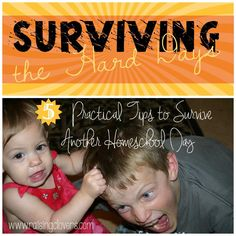 Surviving the Hard Days! 5 Practical Tips to Survive Another Homeschool Day! by Raising Clovers - Ever had a hard day while homeschooling? Ha! We all have hard days. Check out this post to see the great tips I share on how to survive. http://www.raisingclovers.com/2015/03/15/surviving-the-hard-days/