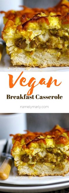 This hearty vegan breakfast casserole features layers of biscuits, sausage, scramble, and topped with cheddar cheese, all vegan! This delicious and easy-to-make casserole is full of your breakfast fav Vegetarian Breakfast, Vegan Breakfast Recipes, Brunch Recipes, Vegan Recipes, Vegan Food, Breakfast Casserole With Biscuits, Sausage Breakfast, Eat Breakfast, Vegan Casserole
