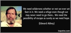 We need wilderness whether or not we ever set foot in it. We need a refuge even though we may never need to go there... We need the possibility of escape as surely as we need hope. — Edward Abbey, Desert Solitaire