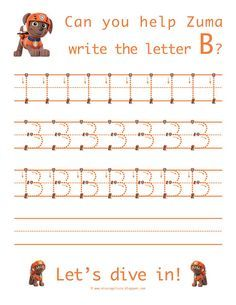 Image result for paw patrol letter tracing sheets