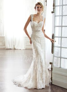 Wedding Dresses - $261.56 - Sheath/Column Sweetheart Court Train Satin Lace Wedding Dress With Beading Bow(s) (0025056591)