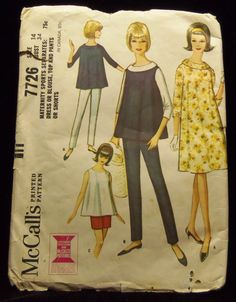 Maternity Dress or Top and Pants or Short McCall's 7726 1960s sewing patterns retro clothing vintage clothing sewing mad men size 14 Bust 34