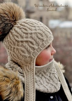 "diy_crafts-Ravelry: Winter Adventure Snood pattern by Pelykh Natalie ""Winter Adventure Snood complements Winter Adventure and Bonvoyage Hats. Knitting For Kids, Crochet For Kids, Loom Knitting, Baby Knitting, Crochet Baby, Knitting Patterns, Crochet Patterns, Hat Patterns, Bonnet Crochet"