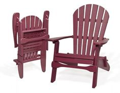 it's time to start thinking about outdoor furniture!  Our poly resin Adirondack chairs fold! They are built to last, can be left out in any weather, and they can be stored easily.