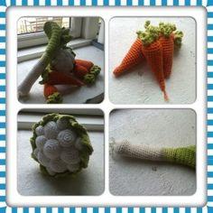 Forskellige hækle-opskrifter. Bla gulerødder