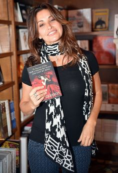 Gina Gershon: Cat Flats and Black n' White Scarf for a Book Signing