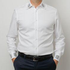 Camasa alba cu motive traditionale romanesti, cadoul perfect pentru el Men Shirts, Shirt Dress, Mens Tops, Dresses, Women, Fashion, Vestidos, Moda, Shirtdress