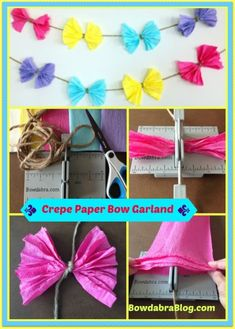 Don't you just love creating pretty party décor for the summer? Here is DIY festive crepe paper bow garland to delight any warm weather celebration. Jojo Siwa Birthday Cake, Unicorn Birthday, 6th Birthday Parties, Birthday Bash, Birthday Ideas, Happy Birthday, Crepe Paper Decorations, Crepe Paper Garland, Bow Garland