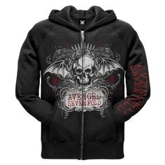 Avenged Sevenfold Ornate Zip Hoodie ($52) ❤ liked on Polyvore featuring tops, hoodies, avenged sevenfold, band merch, jackets, hooded sweatshirt, zipper hoodie, sweatshirt hoodies, zipper hoodies and zipper top