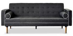 Canapé lit convertible Karl noir liseré blanc. Profitez de notre prix exceptionnel de 399€ sur lekingstore.com. Contactez nous vite au 01.43.75.15.90. Existe aussi en beige liseré marron, gris liseré blanc, marron et noir.