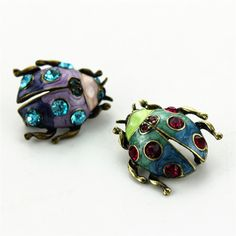 2017 Free Shipping new fashion jewelery women blue and purple and alloy simple ladybug color enamel brooch brooches for women #Affiliate
