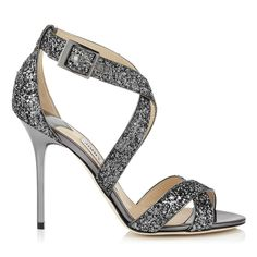Gunmetal Coarse Glitter Fabric Sandals | Lottie