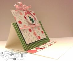 Easel card for OWH, featuring SRM stickers and nontraditional Christmas colors.
